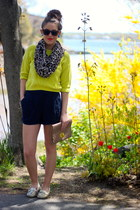 chartreuse Forever 21 sweater - light yellow boat shoes sperry topsider shoes