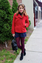 red peacoat H&M coat - black Dolce Vita boots - magenta opaque Marshalls tights