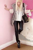 gray Primark vest - white Topshop blouse - gray next boots - black H&M pants