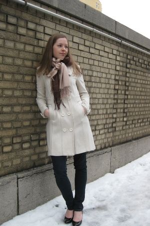 white H&M coat - brown scarf - black payless shoes - blue Forever 21 jeans - Bye