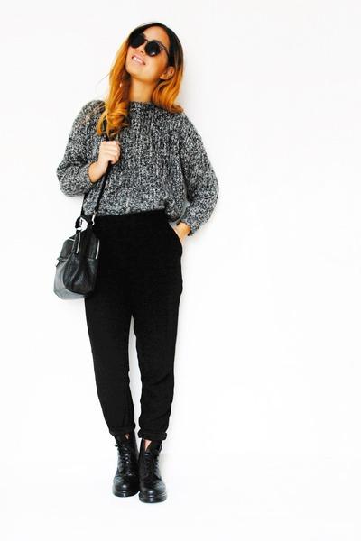 black doc martens boots - heather gray wool choiescom sweater