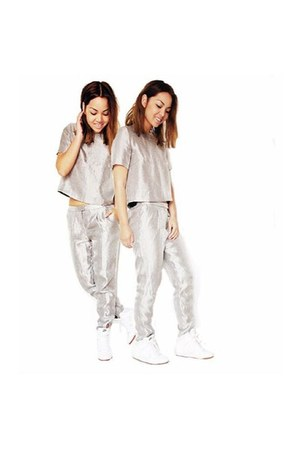 silver pants - silver silver t-shirt - ivory nike wedges