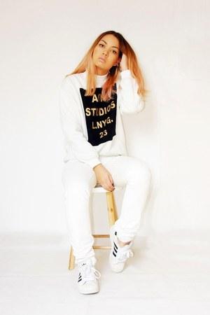 acne sweatshirt - maison martin margiela pants - Adidas sneakers