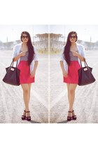 black Steve Madden shoes - hot pink Roxy dress - white Zara shirt
