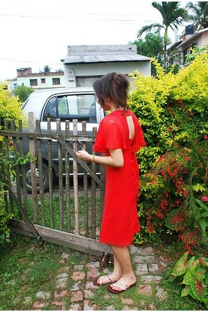 red Topshop dress