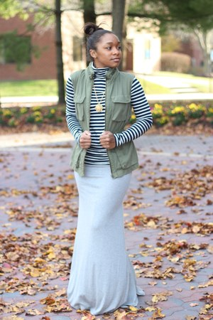 bcbg max azria skirt - JCrew top - JCrew vest - Atlantis Dry Goods necklace