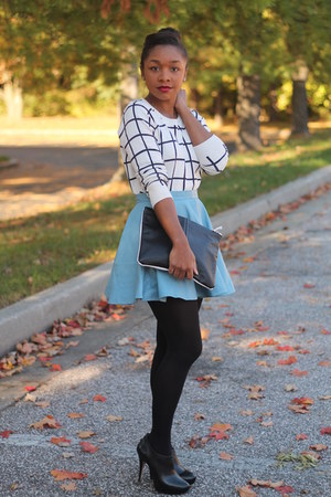 asos skirt - Forever 21 sweater - HUE tights - Love Cortnie bag