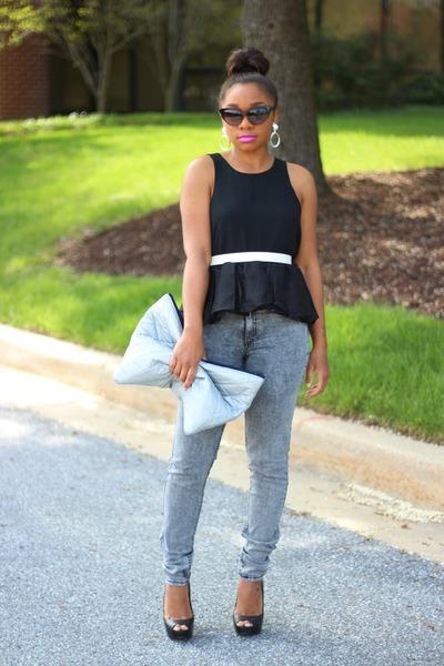 Blaque Label top - H&M jeans - Love Cortnie bag - Shop Jeen sunglasses