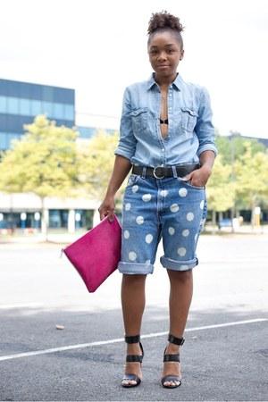 JCrew top - Love Cortnie bag - Urban Outfitters shorts - Steve Madden heels