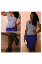 pencil skirt Mossimo skirt - booties Payless boots - v-neck Mossimo shirt