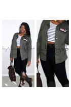 army green military jacket Wetseal jacket - dark brown Charlotte Russe boots