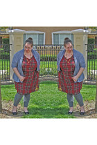 maroon tartan Simply Be dress - heather gray faded glory leggings