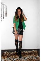 green Calliope blazer - black boots - Republic bag - black Terranova shorts