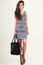 heather gray Somedays Lovin dress - black Medusa bag - silver unknown earrings