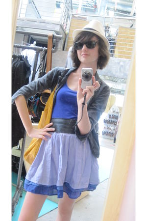 beige Urban Outfitters hat - gray delias jacket - blue Old Navy skirt - black vi