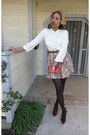 Ivory-button-up-mng-by-mango-blouse-peach-skirt-navy-skirt