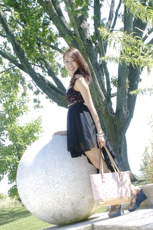 black spoof skirt - light pink YSL bag - navy denim sequinned Bamboo wedges