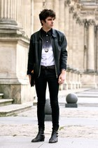 ombre Givenchy shirt - vintage boots - vintage jacket - Mujjo bag