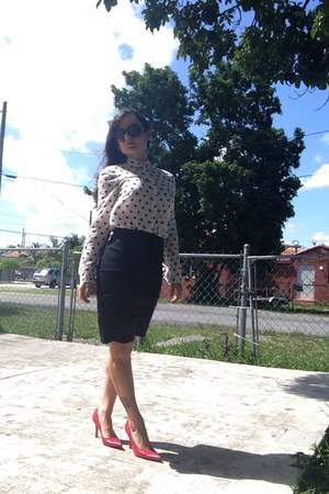 white H&M blouse - red random heels - black tube skirt Charlotte Russe skirt