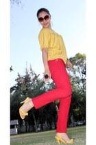 mustard Ross blouse - mustard terra sandals - red Paris Blues pants