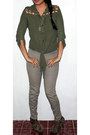 Light-brown-animal-print-qupid-boots-army-green-cut-out-unknown-brand-blouse