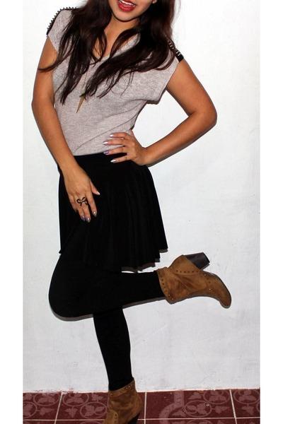 black Forever 21 leggings - camel boots - black skirt - bronze blouse