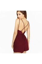 Wine Red Cross Back Playsuit