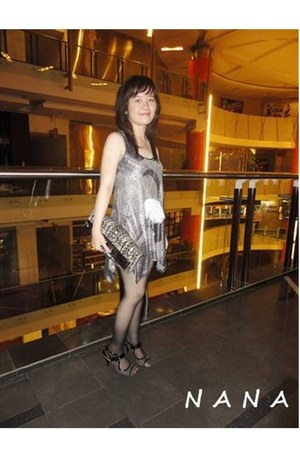 heather gray Charles & Keith purse - silver red herring dress