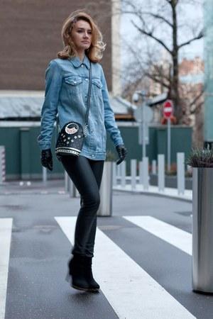 black Accessorize bag - sky blue Levis jacket - black Uniqlo leggings