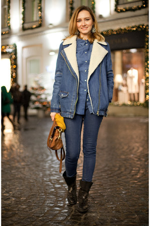 blue Zara jeans - black Zara boots - blue Pull&ampBear jacket