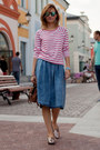 Brown-mulberry-bag-pink-miista-loafers-blue-river-island-skirt
