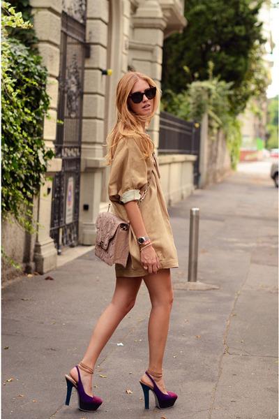 tan random brand bag - random brand sunglasses - camel random brand blouse