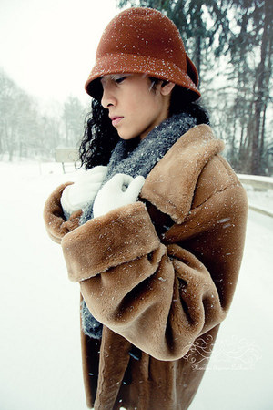 Charlotte Russe hat - fluffy  coat - Charlotte Russe scarf