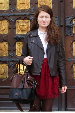 maroon lace New Yorker skirt - brown c&amp;a jacket - black black and brown H&amp;M bag