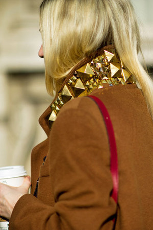 bronze studded collar coat - yellow accessories