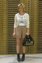 beige Queens Wardrobe shorts - black Jeffrey Campbell boots - black vintage purs