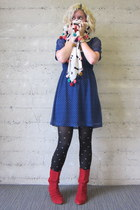 Harajuku Lovers boots - modcloth dress - modcloth tights - numph scarf