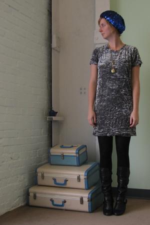 blue hat - gray ModClothcom dress - black 8020 boots