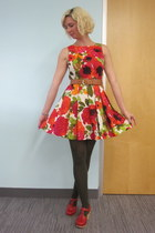 Eva Franco dress - modcloth tights - vintage belt - Swedish Hasbeens clogs