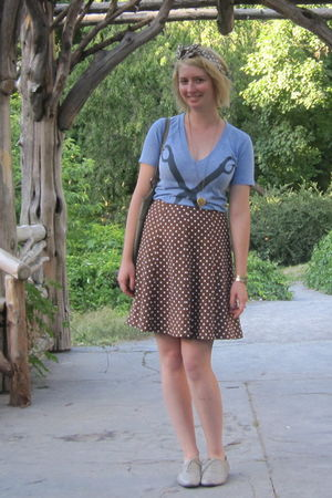 blue MNKR shirt - brown thrifted skirt - silver ModClothcom shoes