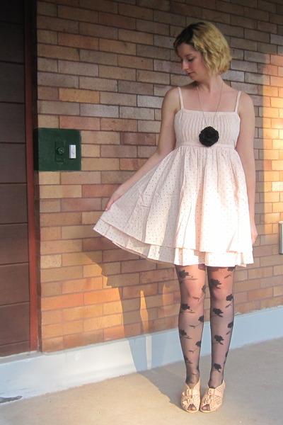 pink ModClothcom dress - black ModClothcom tights - beige Jeffrey Campbell shoes