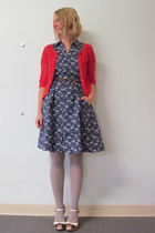 navy ModClothcom dress - red ModClothcom cardigan - brown ModClothcom wedges