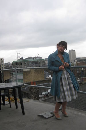 gray Urban Outfitters dress - blue asos coat - gray new look shoes - orange asos