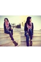 Arabic scarf - shadow studd Jeffrey Campbell boots - Zara jeans - Zara jacket