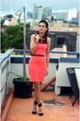 Salmon-miss-selfridge-dress-black-zara-heels