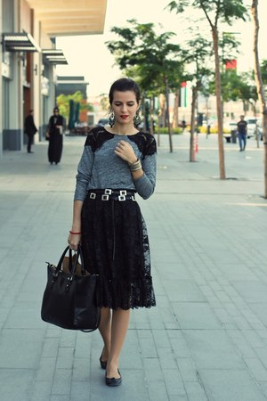 heather gray lace Zara top - black leather black Zara bag