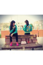 turquoise blue extyn jacket - hot pink Jeffrey Campbell boots