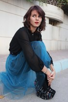 teal Susanna Vesna skirt - black Jeffrey Campbell boots - black Zara blouse