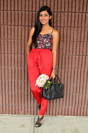 red tasseled silk H&M pants - black H&M bag - H&M top