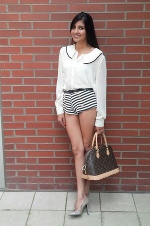 Forever21 blouse - Louis Vuitton bag - striped sailor Forever21 shorts